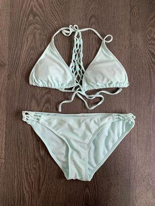 Ardene light blue bikini with knitted details size small