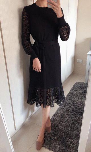 🚚 韓貨 黑色蕾絲洋裝