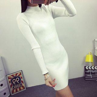 韓版半高領顯瘦中長款針織衫
