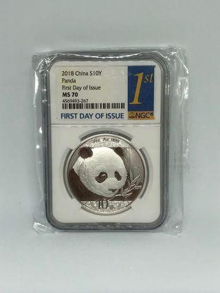 🚚 2019 Chinese panda 1 oz Ngc certified ms 70