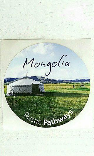 Rustic Pathways Circle Sticker with Mongolian Tent - Large