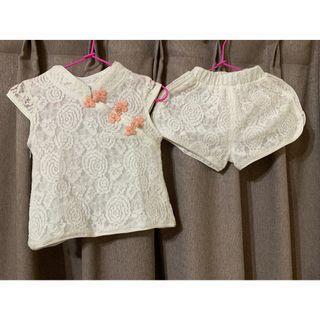 寶寶 女童 旗袍 套裝 9M 2件式 嬰兒 衣服 嬰幼兒 童裝