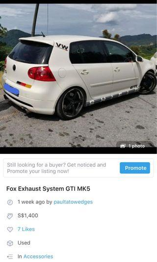 Fox Exhaust System Dekitted from GTI MK5 (Swap required)