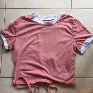 pink ringer crop top