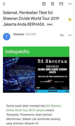 (New Deal) Tiket Konser Ed Sheeran Divide World Tour 2019 Jakarta (Cat 5A)