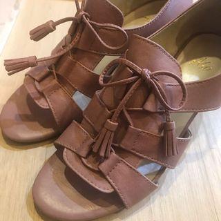 Ⓜ️夏日乾燥玫瑰粉低跟涼鞋