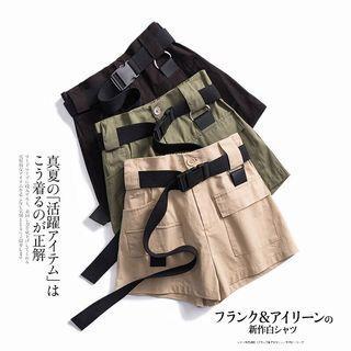 日系 型格工業風有口袋松緊腰短褲 (有碼)