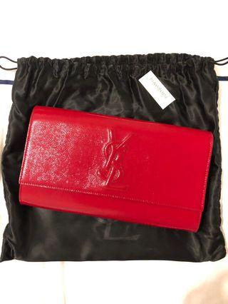 YSL Belle Du Jour Red Patent Leather Clutch Bag Purse
