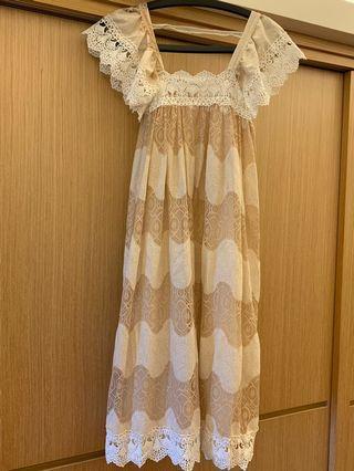 🚚 日本古著公主袖洋裝