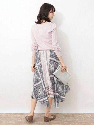 日系 幾何不規則拼接裙