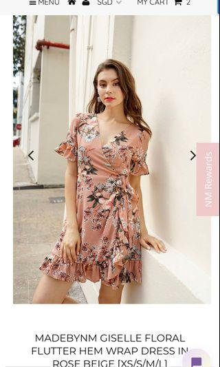 7acd3c1311a Neonmello madebynm giselle floral flutter hem wrap dress in rose beige