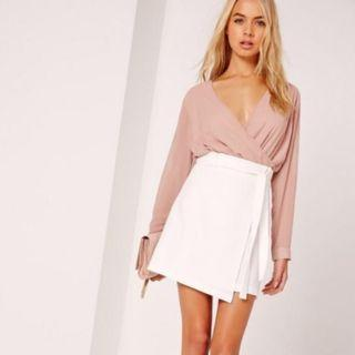 Missguided Waist Wrap Paperbag Mini Skirt