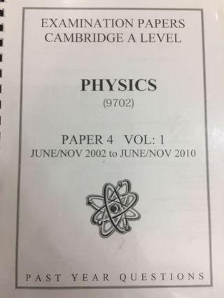 Physics 9702 Cambridge A LEVEL Past Year Paper 4 M/J 2002 to M/J 2010 + Mark scheme