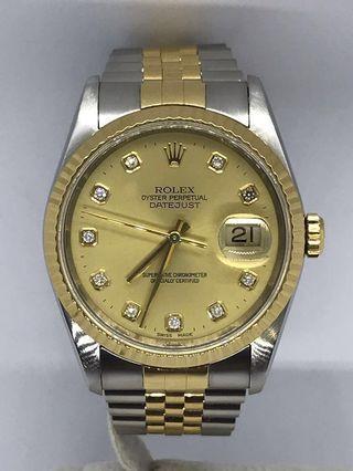 🚚 Rolex Datejust Champagne Gold 16233