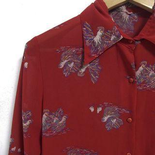 🚚 超美ㄉ紅色古著雪紡襯衫
