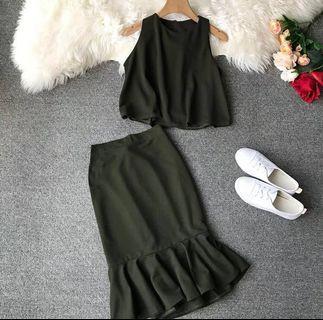 BNIB Olive Green 2 Piece Top Mermaid Skirt