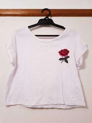 White Embroidered Rose Top