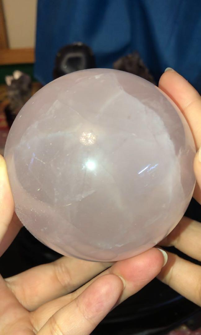 六芒星光粉水晶球8cm🔮附座