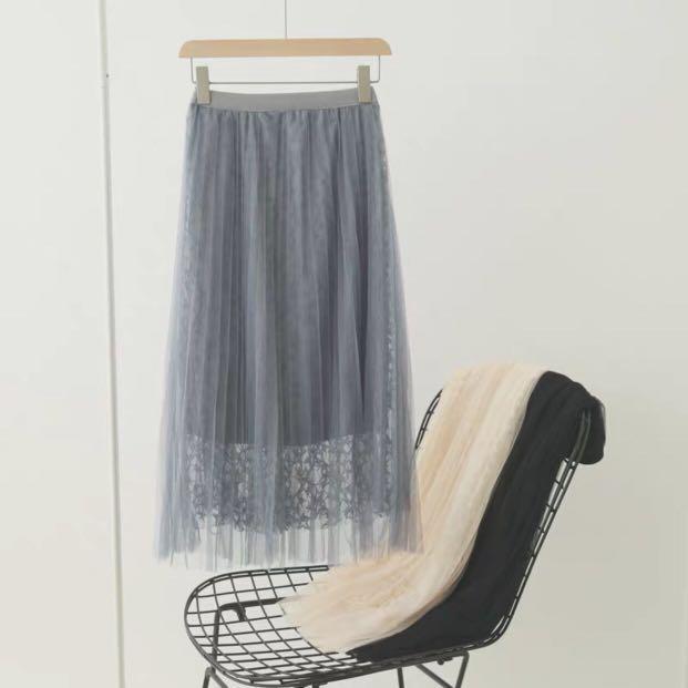 藍灰色紗裙