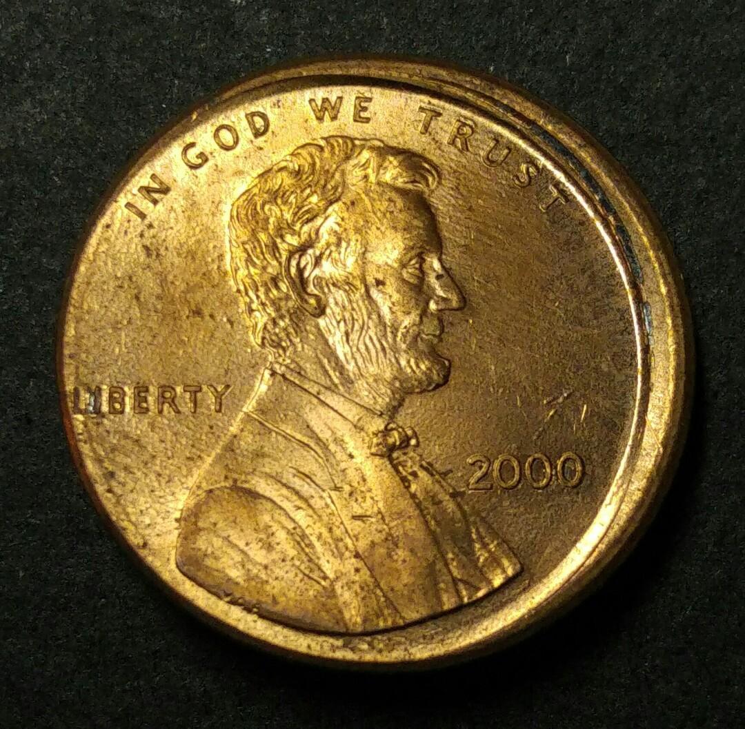 [偏打錯體] 2000年 美國林肯一仙美金 硬幣一枚