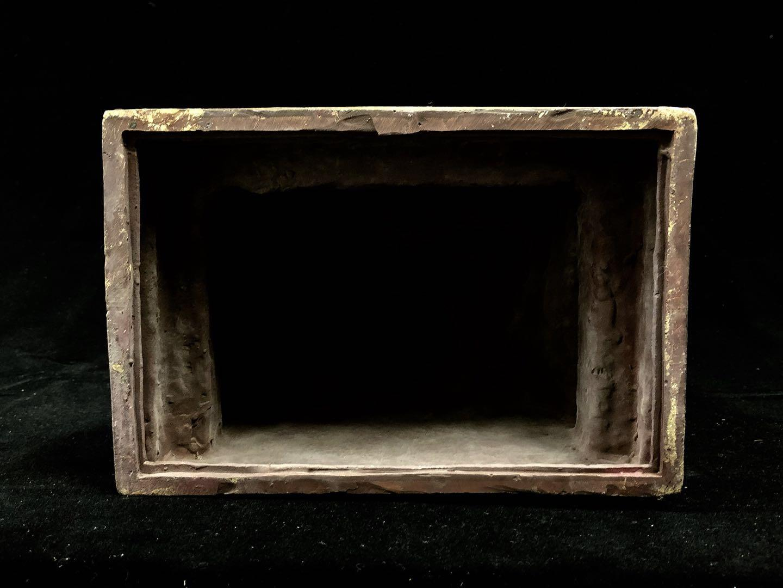 日本古董 佛教古美術 銅製泥金彩繪 東密古佛像[不動明王像]火焰背光 結緣平出