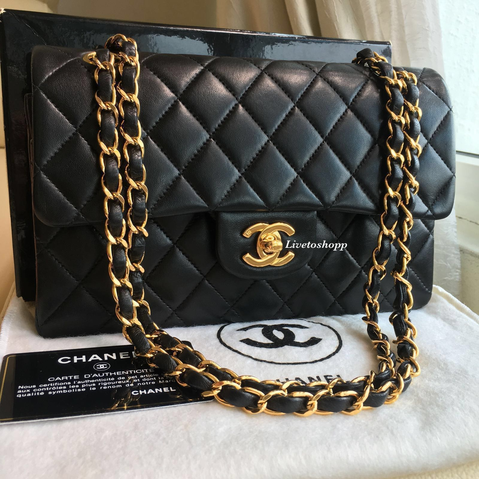 b89496c75842 🖤 Chanel Classic Small Flap Bag Vintage Lambskin 24k Gold Hardware ...
