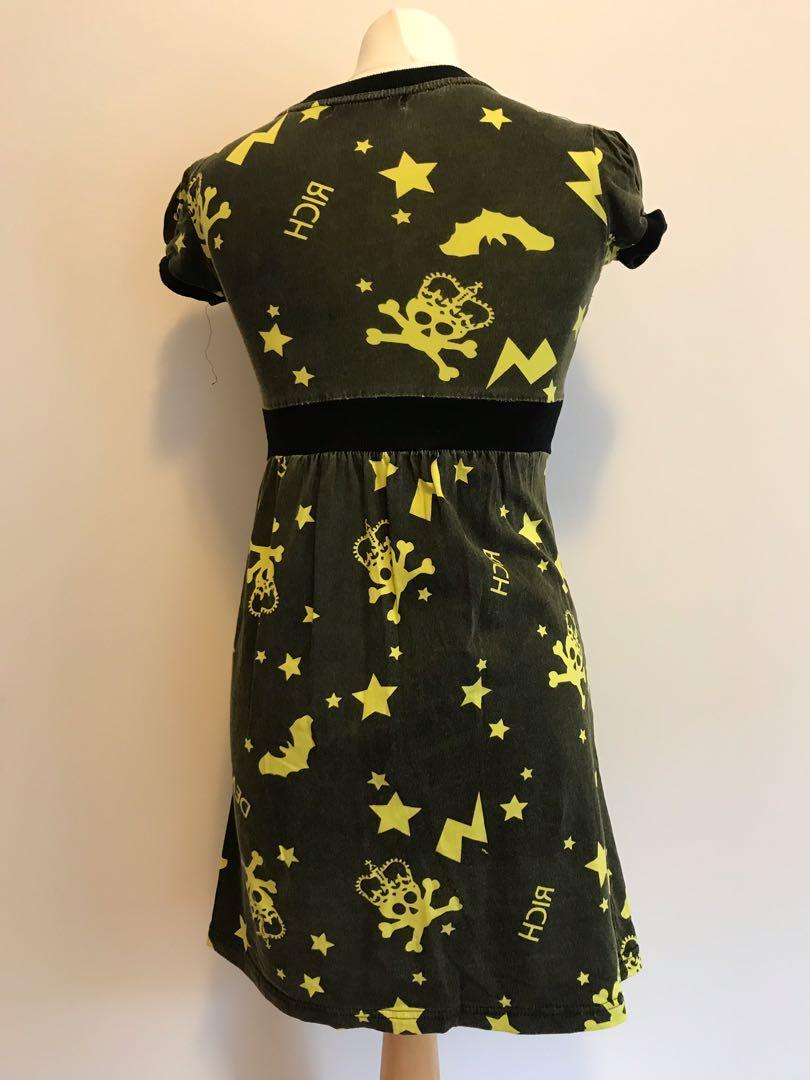 Acid Wash Black Fluro Yellow Punk/Alternative Dress