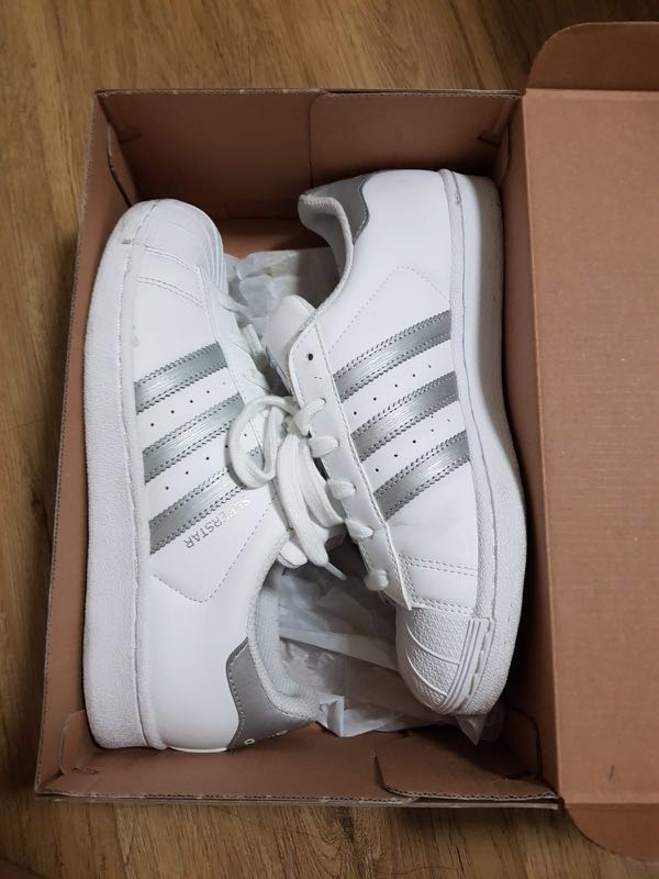 pretty nice 30cf0 cb031 adidas superstar ( white with silver stripes), Women s Fashion, Shoes,  Sneakers on Carousell