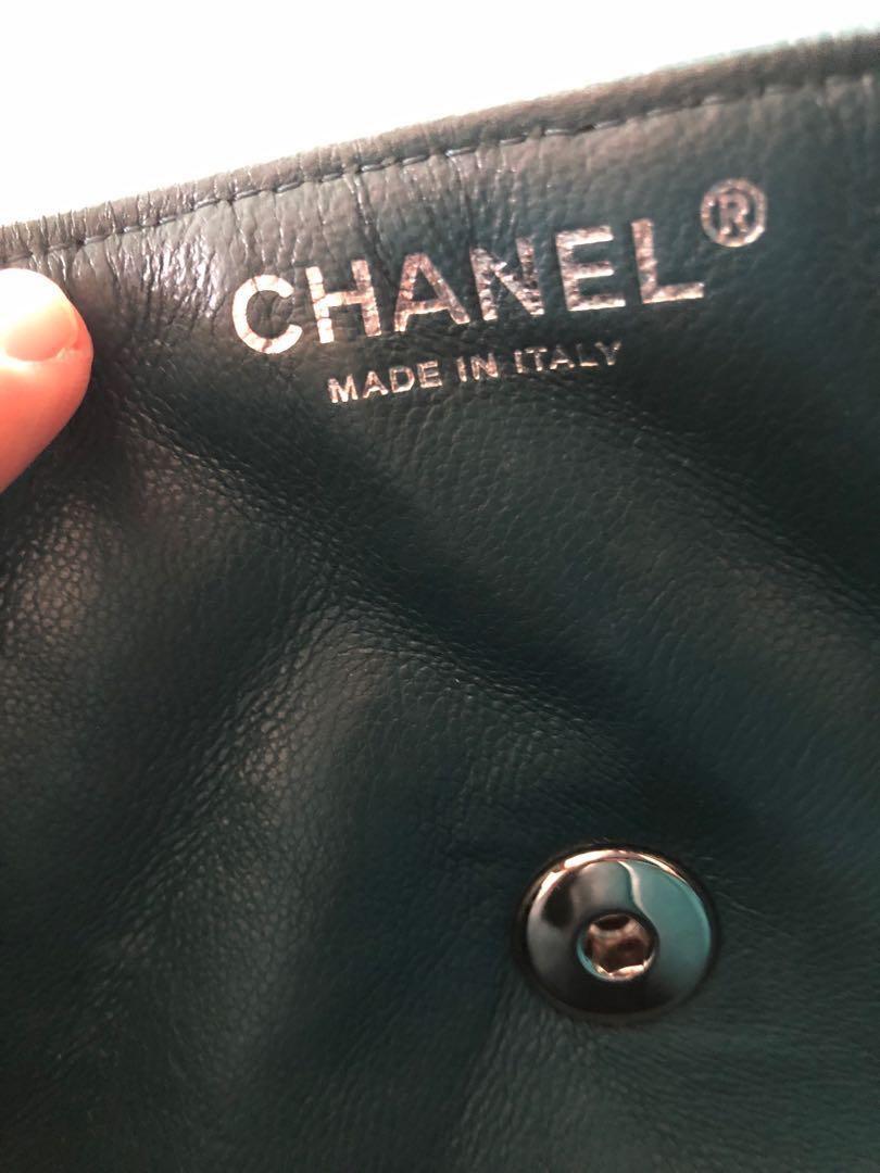 AUTHENTIC Chanel 2.55 Handbag Lambskin Limited edition blue-green single flap Small GENUINE