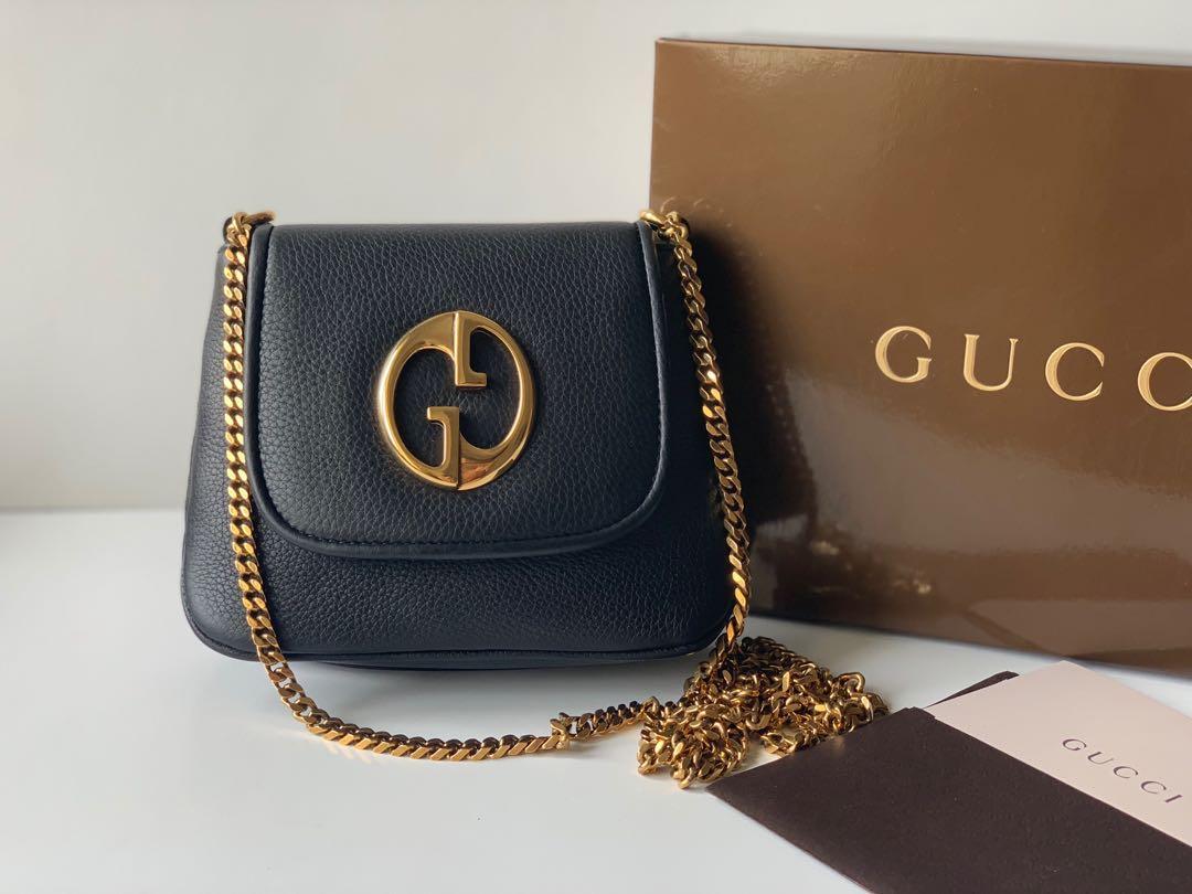 Authentic Gucci Black Leather Mini Chain Bag