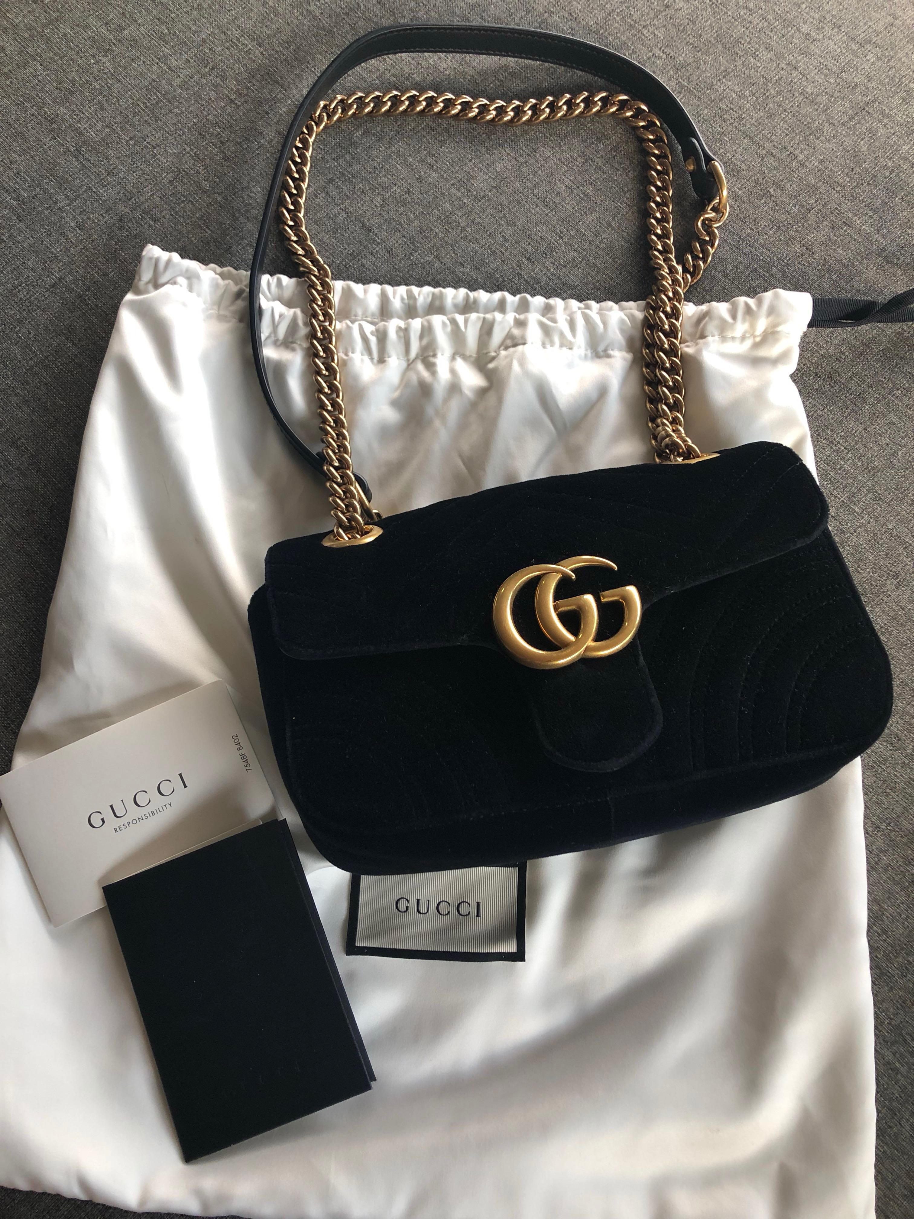 1fd1aaa2e200 Authentic Gucci Marmont Velvet Shoulder Bag, Luxury, Bags & Wallets, Sling  Bags on Carousell