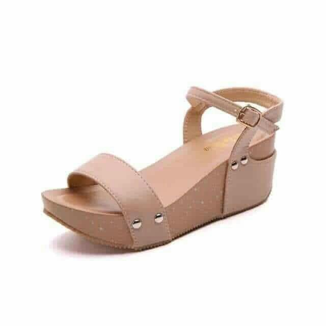 Beige and gray sandal