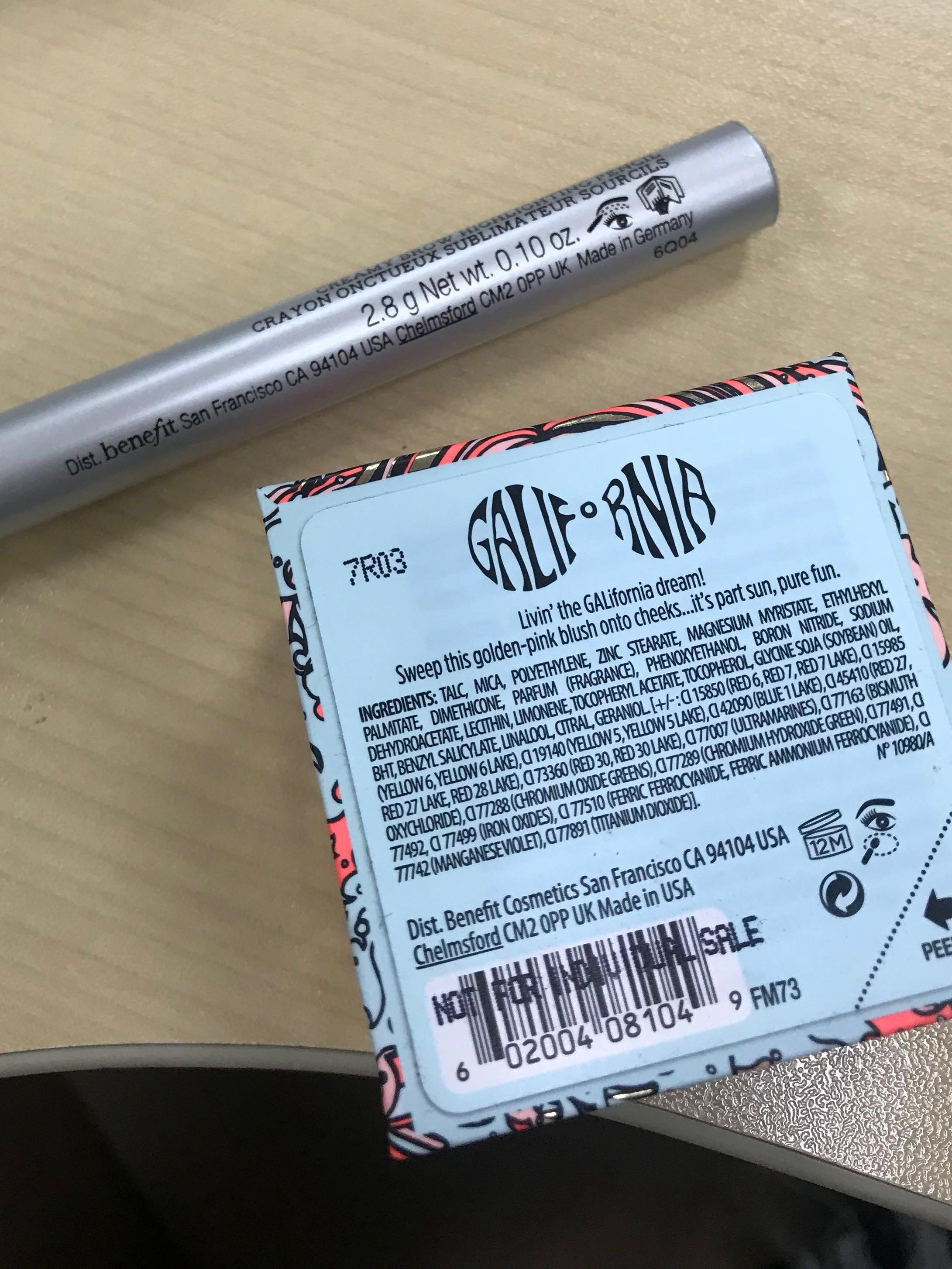 Benefit High Brow highlight pencil Galifornia blush bundle