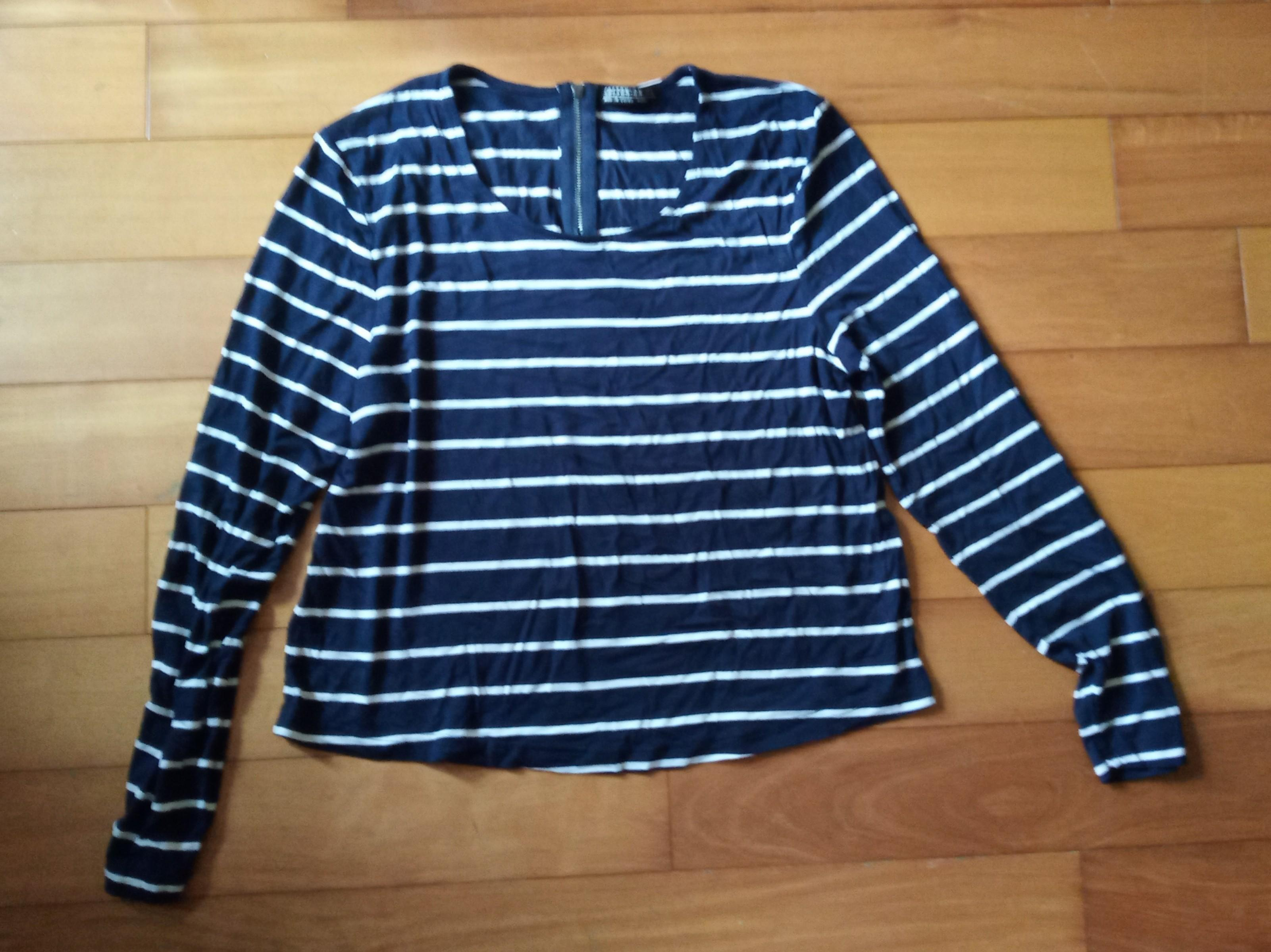 Blue and White Striped Long Sleeved Semi-cropped Top