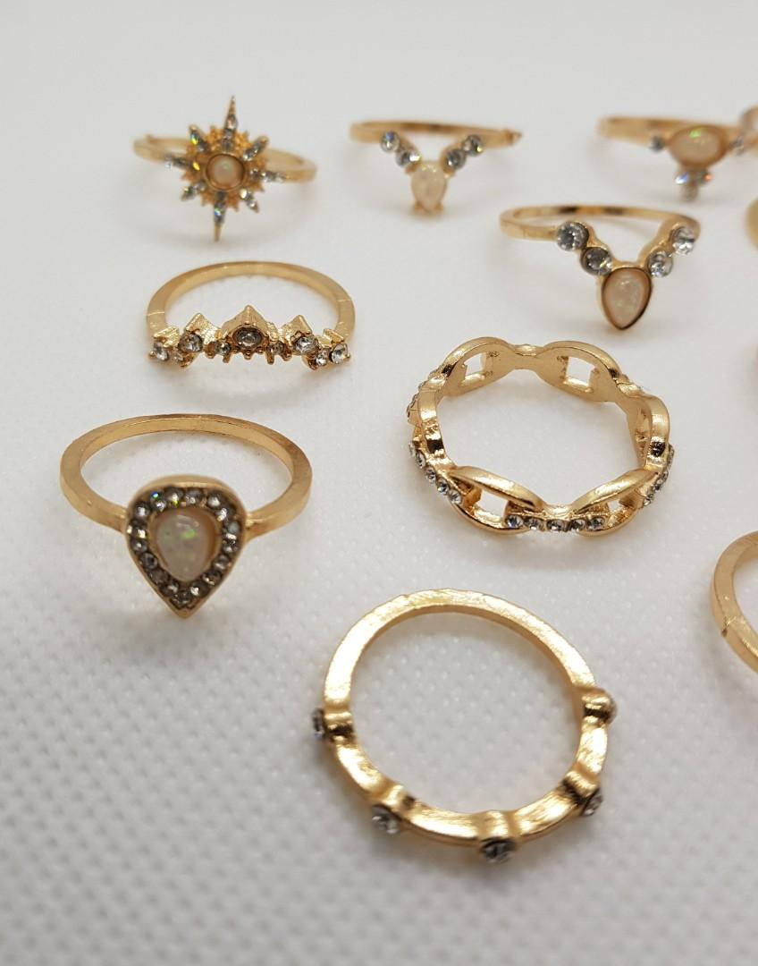 BN 12 Matt Gold Colour Bohemian Ladies Rings