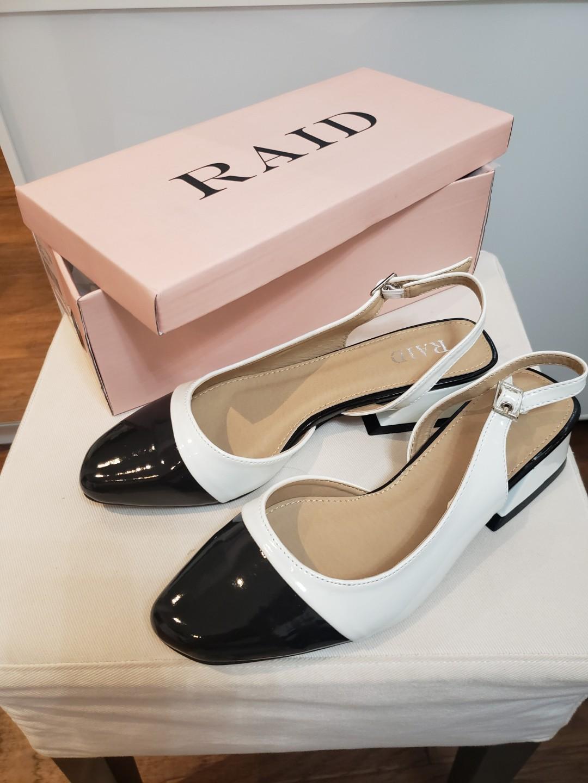 BNIB ASOS RAID Lizbeth cap toe sling back mid blocked heeled shoes black white sz 7/7.5