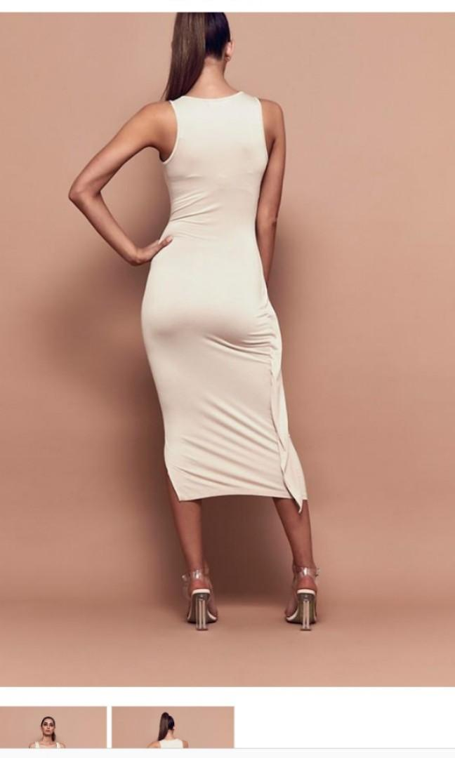 BSSA midi nude dress size medium gold RRP$199USD Bnwt