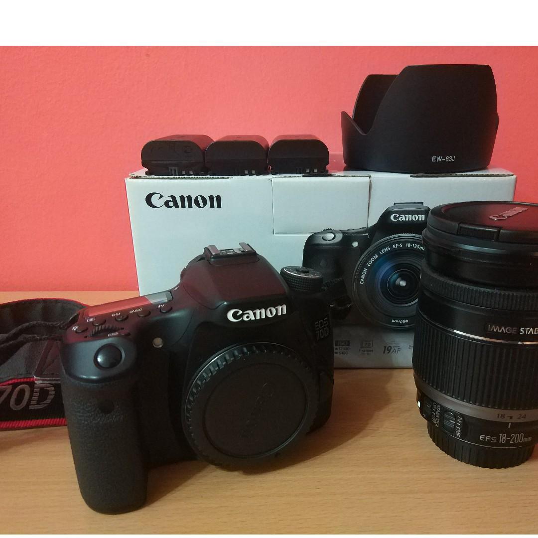 CANON EOS 70D BODY + CANON 18-200mm Lens (Image Stablizer)
