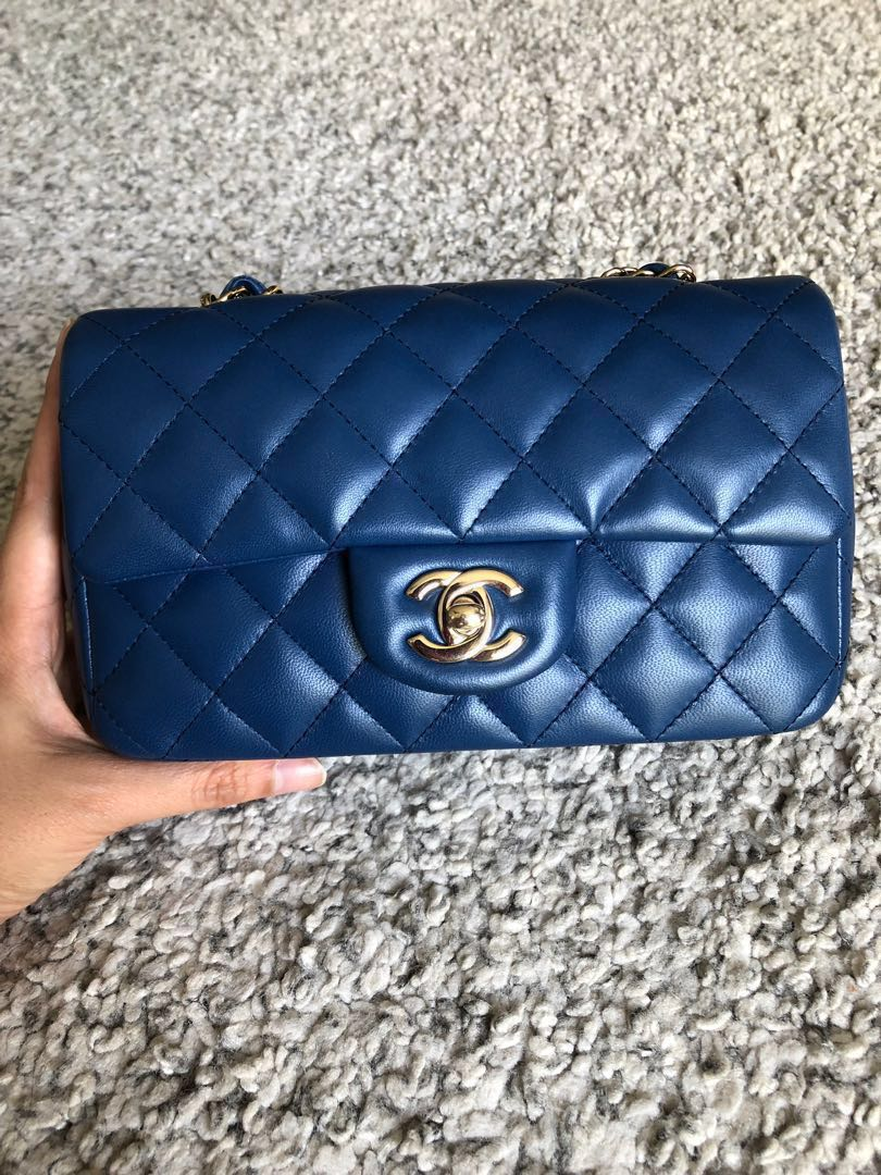 1711cc001c42 💙Chanel Lambskin Quilted Mini Rectangular Flap Dark Blue💙, Luxury, Bags &  Wallets, Sling Bags on Carousell