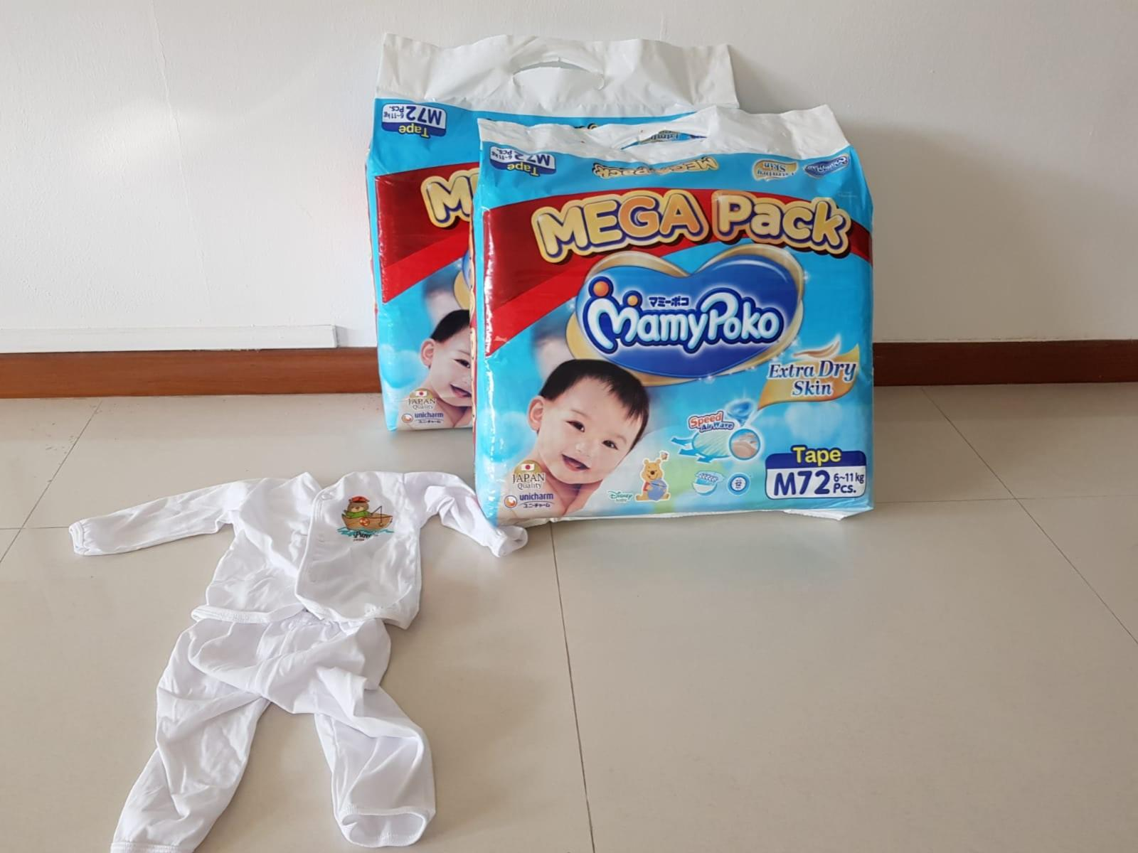 Diapers & 1 set clothes
