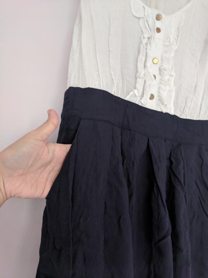 Don't Ask Amanda brand White Navy Dress with Pockets!