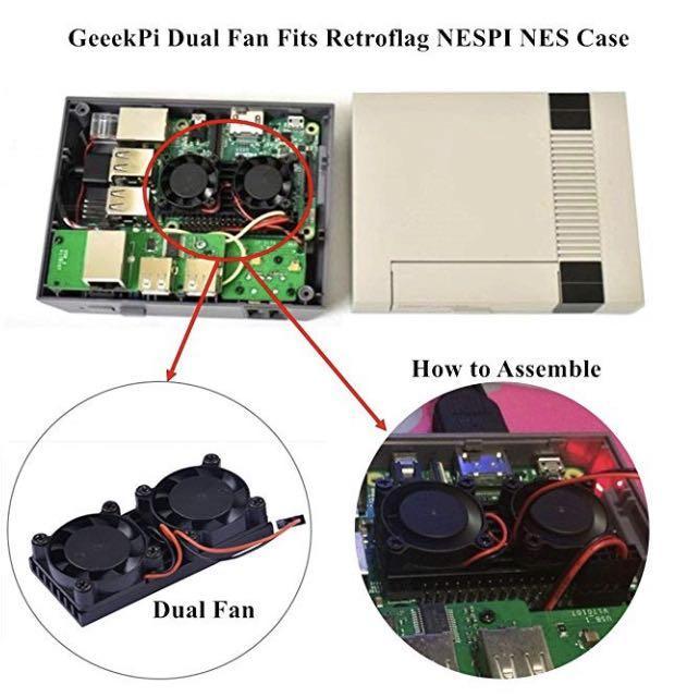E1711) GeeekPi Raspberry Pi Cooling Fan Heatsink Dual Fan