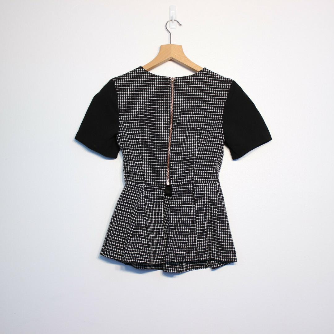 Finders Keepers Peplum Top Black and White Size Small