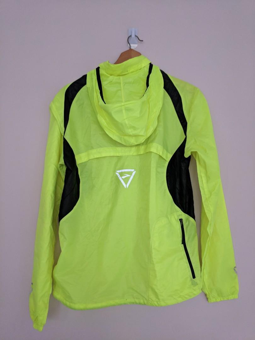 Flourescent Yellow Unisex Windbreaker Running Jacket with Pocket and Storable Hood