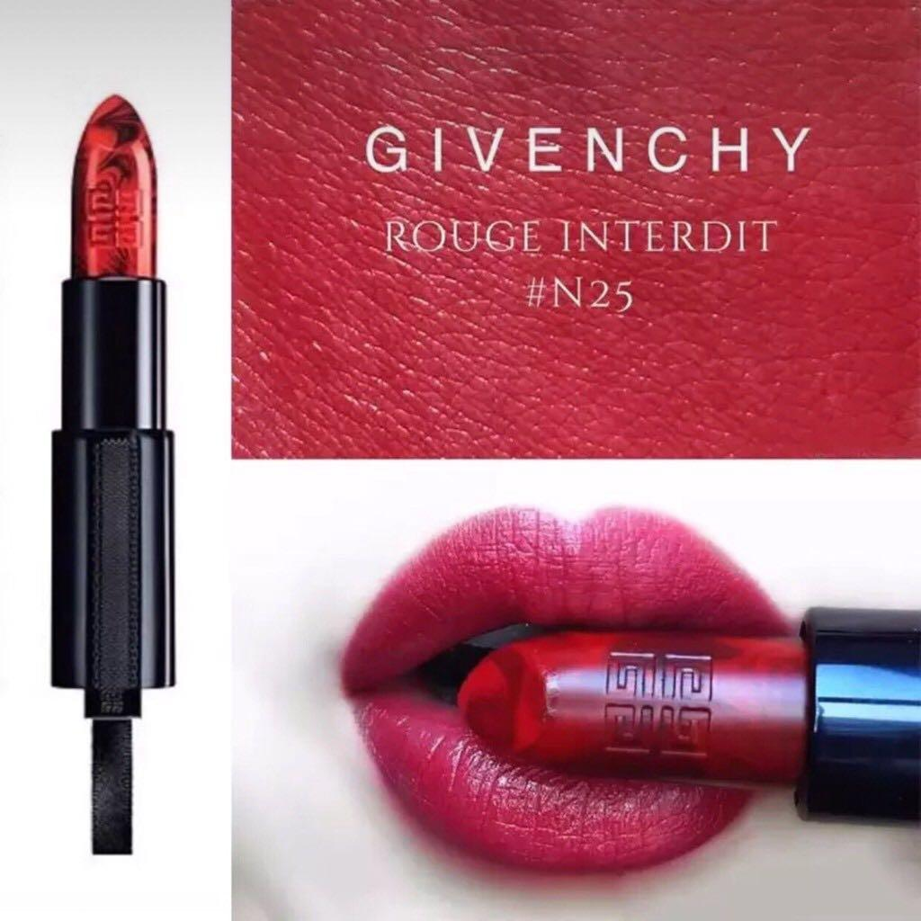 GIVEN'CHY Rouge Interdit Satin Lipstick- Marble Rouge Revelateur LIPSTICK 25 Rouge Revelateur - vivid to deep crimson red Satin finish