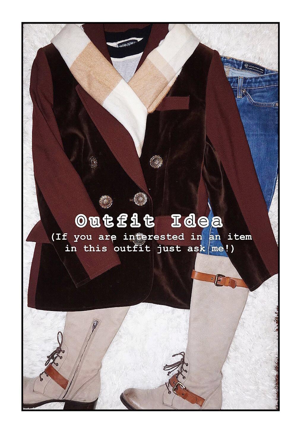 *Great Condition Designer Brand* Christian Lacroix Made in France  100% Wool + Velvet Double-breast Blazer Coat Women Size 42