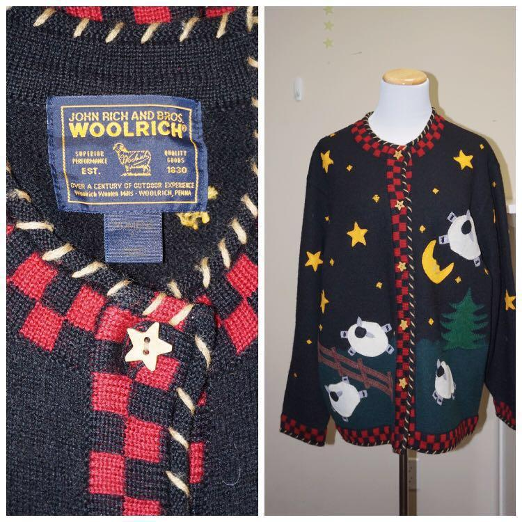 *Great Condition* Vintage John Rich and Bros Woolrich 100% Wool Counting Sheep Cardigan Women Size L