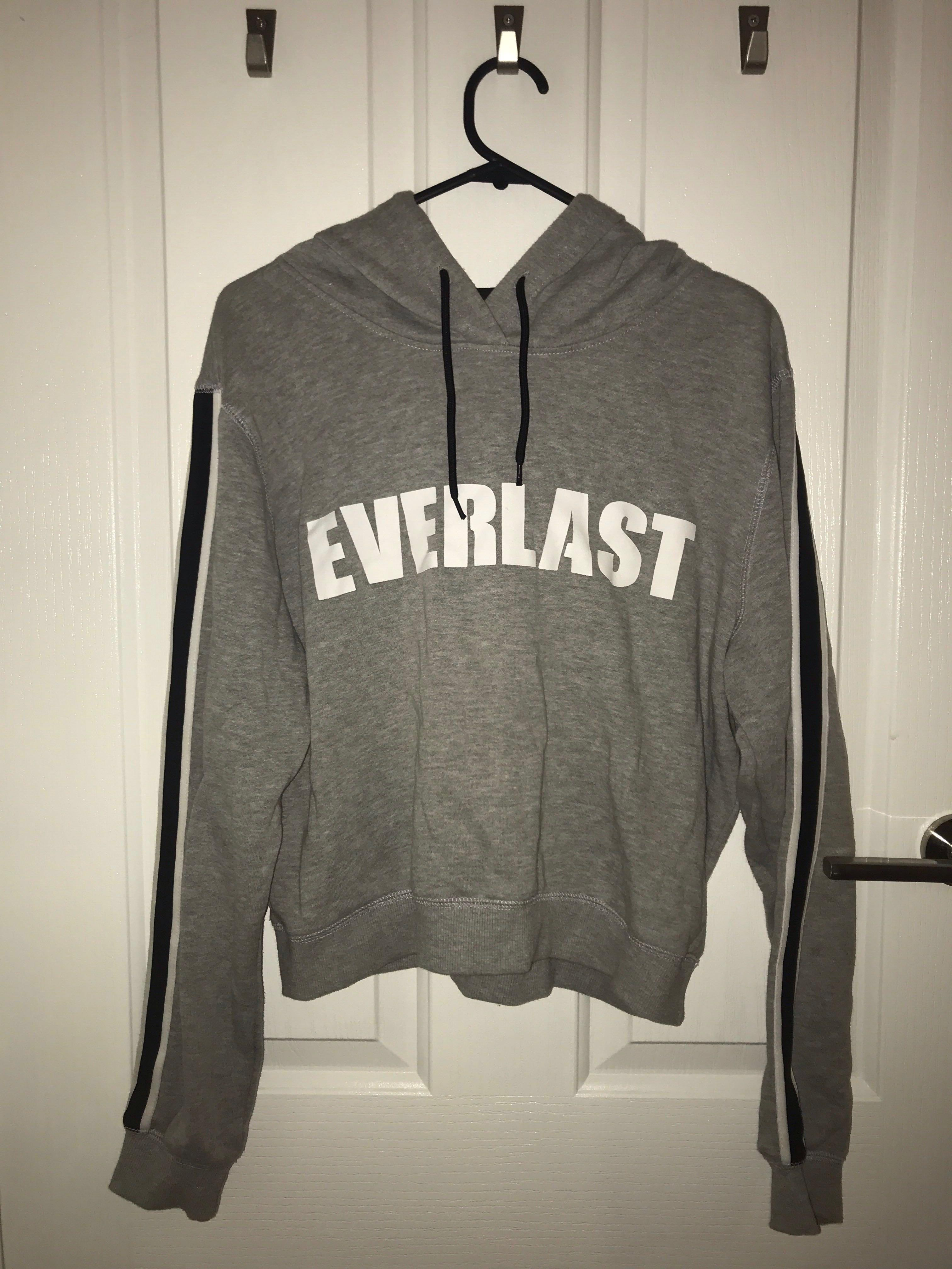 grey everlast hoodie with black and white stripe on the sleeve