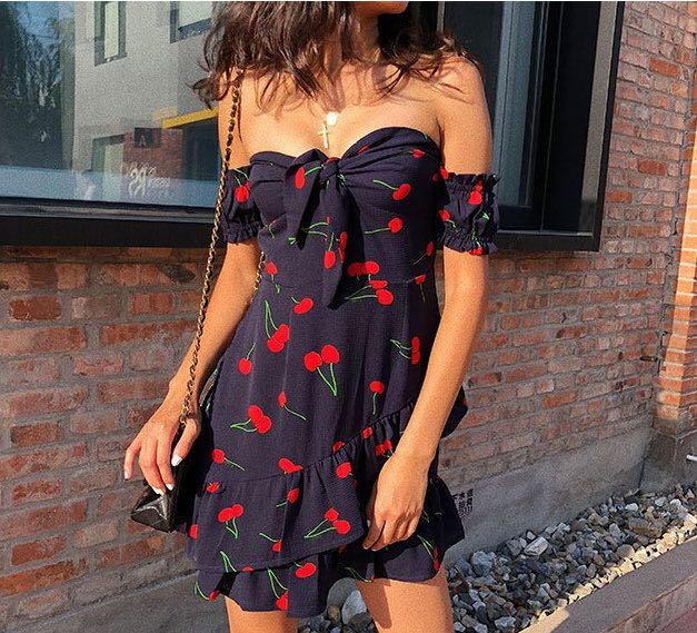 INSTOCKS Cherry off Shoulder dress