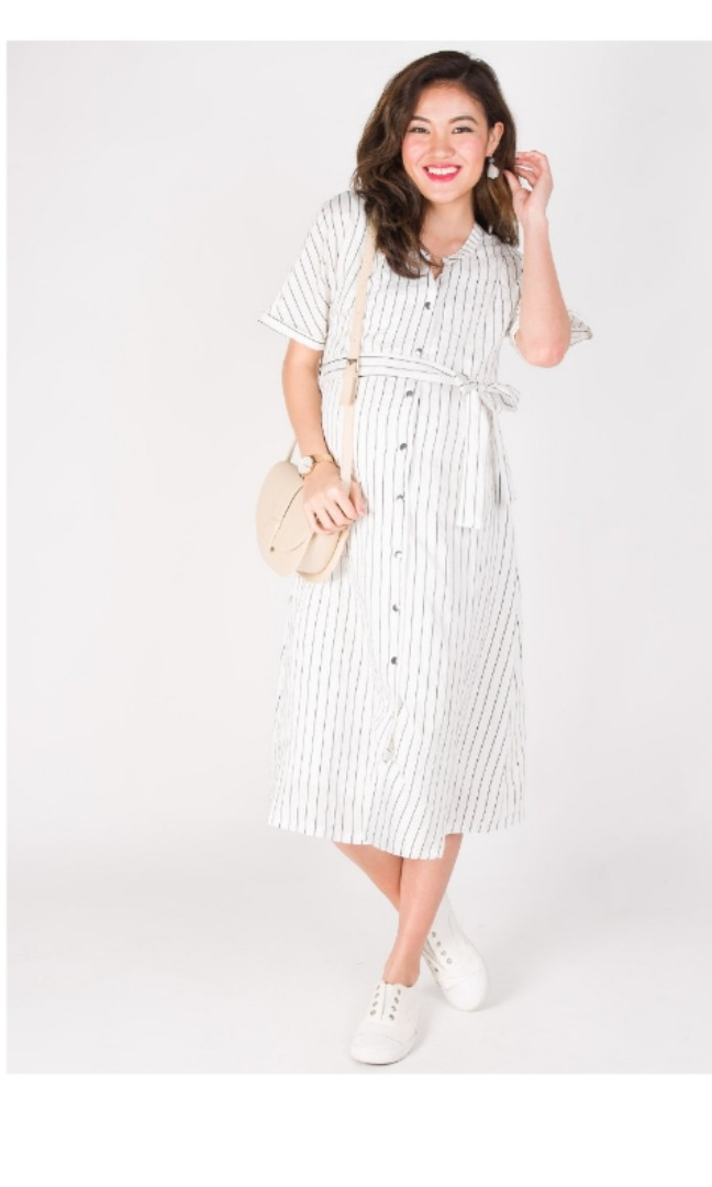 dfbbf1e2b39b1 Jumpeatcry JEC Lilith Striped Nursing Dress in White, Women's Fashion,  Clothes, Dresses & Skirts on Carousell